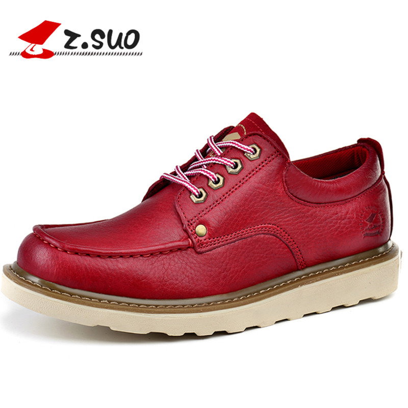 z.suo Cow Leather Red Mens Moccasins Shoes Luxury Brand Autumn Winter Platform Shoes Men Genuine Leather Lace Up Casual Shoes 08 ноутбук hp 15 ba013ur y5l31ea amd a6 7310 4gb 500gb amd r5 m430 2gb 15 6 dos