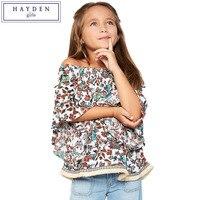 HAYDEN Girls Off Shoulder Blouse Printed Shirts Kids Chiffon Tops 2017 Summer Blue Teen Girl Shoulderless Ruffle Blouses Tops