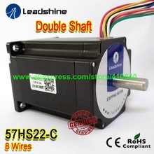 цена на GENUINE Leadshine NEMA23 Double Shaft Stepper Motor 57HS22-C 8 mm Shaft 4 A 2.2 N.M Torque 81 mm Length 8 Wires Dual Shaft Motor