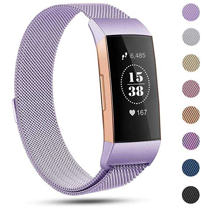 Wrist-Strap Band Fitbit Charge3 Magnetic Milanese Stainless-Steel Replace Metal S/L