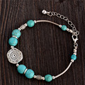 2015 New Pulseras Cuero Buddha Bracelet bangle designer Retro Style Bracelet Turquoise Round Beads Boho Bracelet for Women Girl