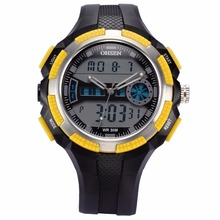 OHSEN Cool Yellow Digital Dual Time Analog Date Alarm Chronograph Quartz Rubber Reloj Waterproof Sport Men Digital Watch /OHS186