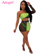Adogirl Sheer Mesh Patchwork Diamonds 3 Piece Set One Shoulder Long Sleeve Strapless Crop Top Shorts Panties Sexy Club Outfits