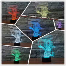 2017 Cute Cartoon Donald Duck 3D USB LED Lamp 7 Colors Change Table Night Light Stage lighting Effect decor lampara Kids Toys