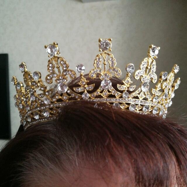 KMVEXO Luxury Bridal Crystal Tiara Crowns Princess Queen Pageant Prom Rhinestone Veil Tiaras Headband Wedding Hair Accessories