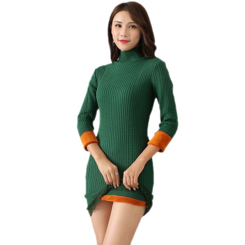 2018 New Winter Women Plus Thick Velvet Knit Sweater Female Velvet Lining Warm Half Turtleneck Long Dress Pullovers Knitwear E69