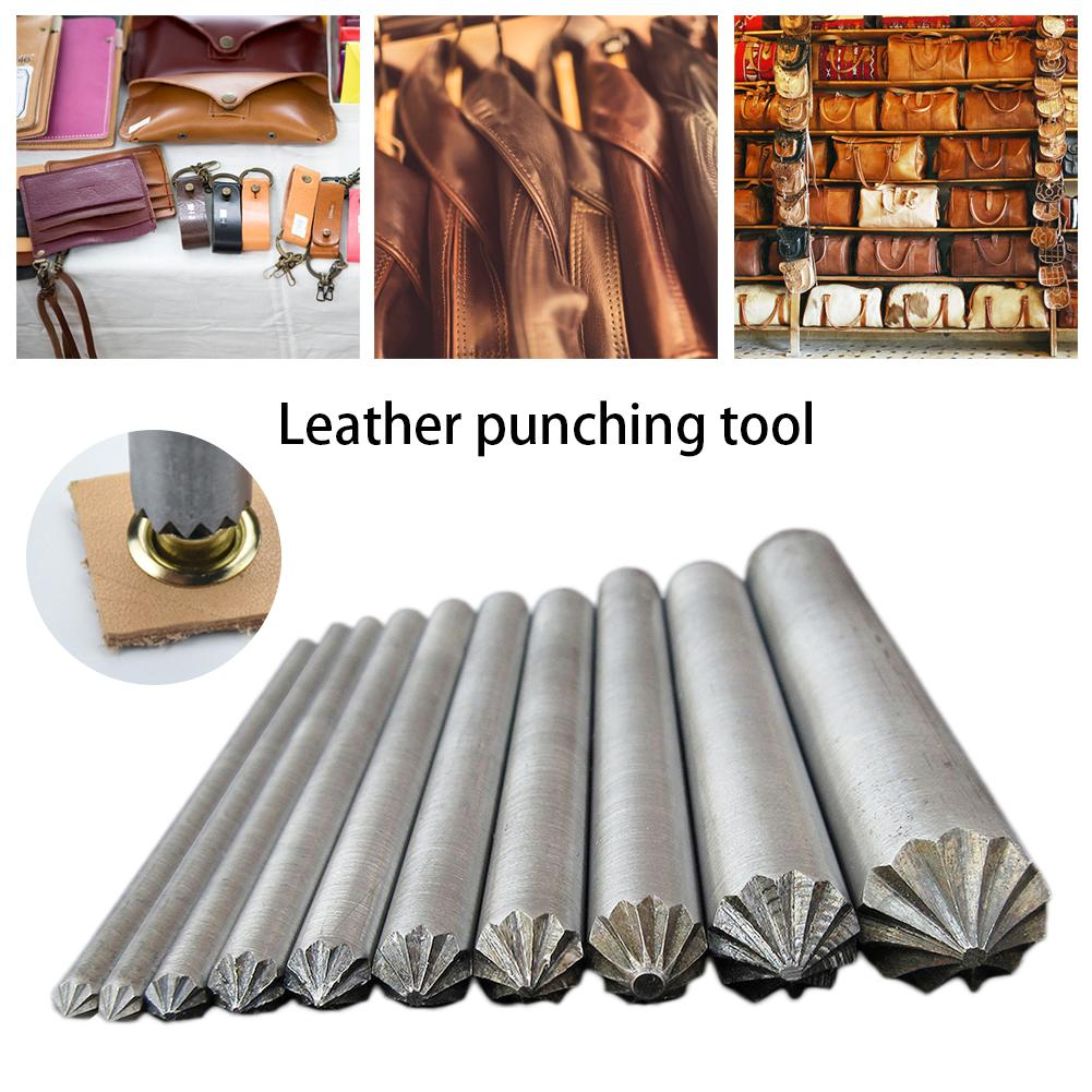 10pcs/pac DIY Leather Craft Eyelet Metal Flowering Puncher Screw 4MM To 15MM For Hole Cracking Eyelets Installation Tool Set