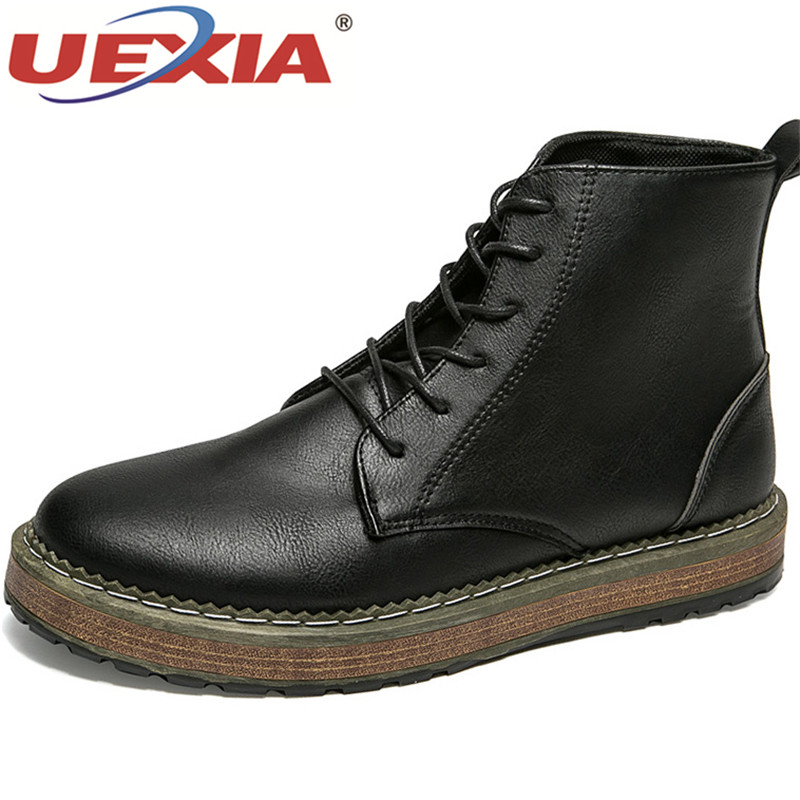 UEXIA New Man Martin Boots Lace-up Leather Men Ankle Boots Shoes Men Autumn Winter Male High Top Boots Shoes Bullock Retro цена