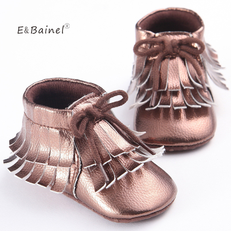 E&Bainel Newborn Baby Booties Fringe Solid Baby Shoes Ankle Boot Soft Bottom Shoes First Walkers PU leather Girl Baby Moccasins