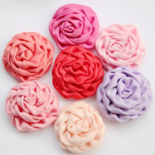 20pcs/lot 3.5-4cm Petite Satin Rolled Rosette Fabric Flowers Puff Flowers Handmade flower for wedding decoration hair ornaments