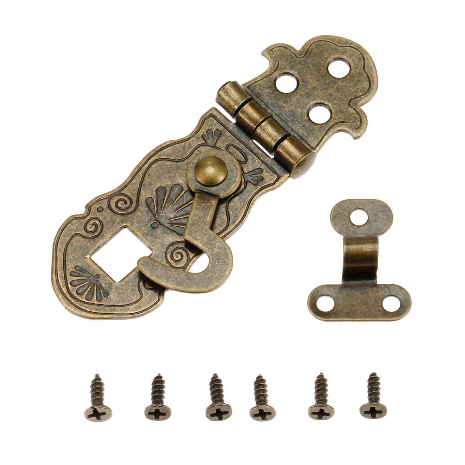 DRELD 1Pc 71*24mm Wooden Box Toggle Lock Antique Bronze Box Buckles Latch Clasp Pattern Carved Flower Book Lock Bronze Tone