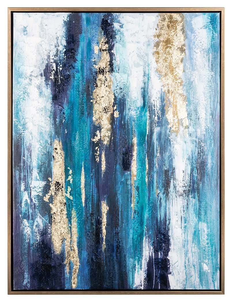 Us 63 0 Hand Painted Original Abstract Modern Art Contemporary Painting Abstract Gold Blue Wall Art Decor Textured Large Artwork In Painting
