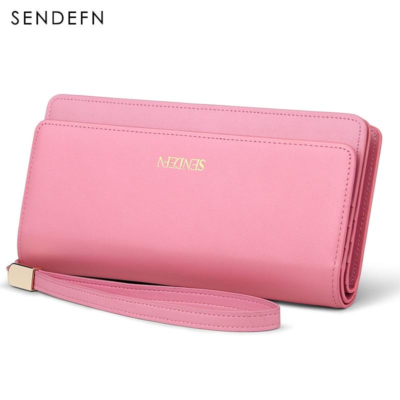 все цены на Sendefn 2018 Brand Fashion Really Genuine Leather Wallet Female Fashion Lady Purse Long Clutch Women Wallet Card Holder Purse