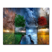 DIY Painting By Numbers Home Decor Kits Coloring Canvas Handpainted Fantasy Landscape Tree Oil Pictures Drawing Unique Wall Art