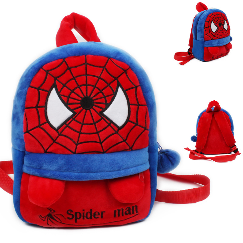<font><b>1-3</b></font> Years Old Baby Lovely School Bags Kids <font><b>Spider</b></font> <font><b>Man</b></font> Design Plush Backpack Boys Cartoon Schoolbags Baby Toy Children's Gift