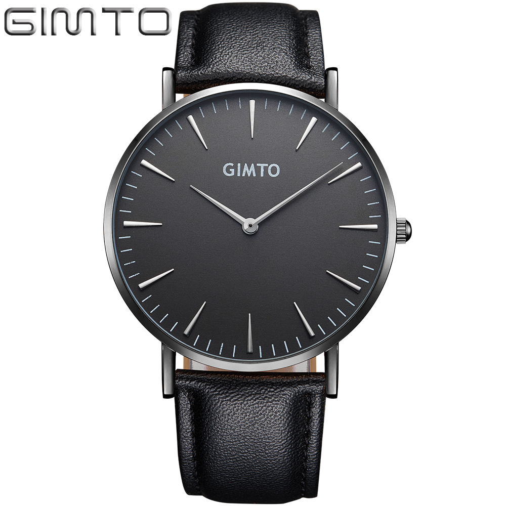 2017 Mens Watches Top Brand Luxury GIMTO Male Business Clock Women Men Quartz-watch Leather Montre Relogio Masculino Gold Black