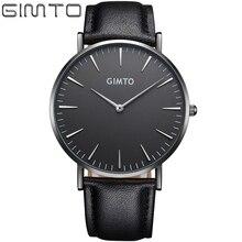 2017 Mens Relojes de Primeras Marcas de Lujo GIMTO Reloj Mujeres Hombres reloj de Cuarzo de Cuero de Negocios Masculino Montre Relogio masculino de Oro negro