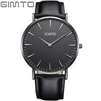 2016 Mens Watches Top Brand Luxury GIMTO Male Business Clock Women Men Quartz Watch Leather Montre