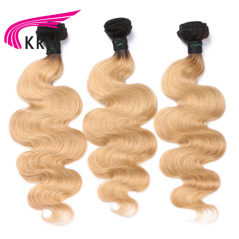 KRN 1B 27 Brazilian Remy Hair 3 Pieces Bundles With 13*4 Ear To Ear Lace Frontal Closure Body Wave Human Hair Bundles Full End-in 3/4 Bundles with Closure from Hair Extensions & Wigs    2