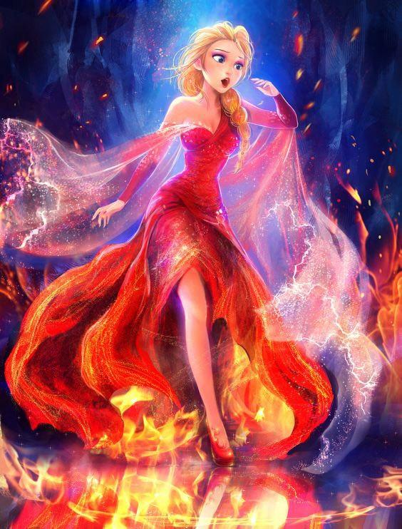 3d Berlian Lukisan Frozen Kartun Api Perempuan Silang Stitch Berlian