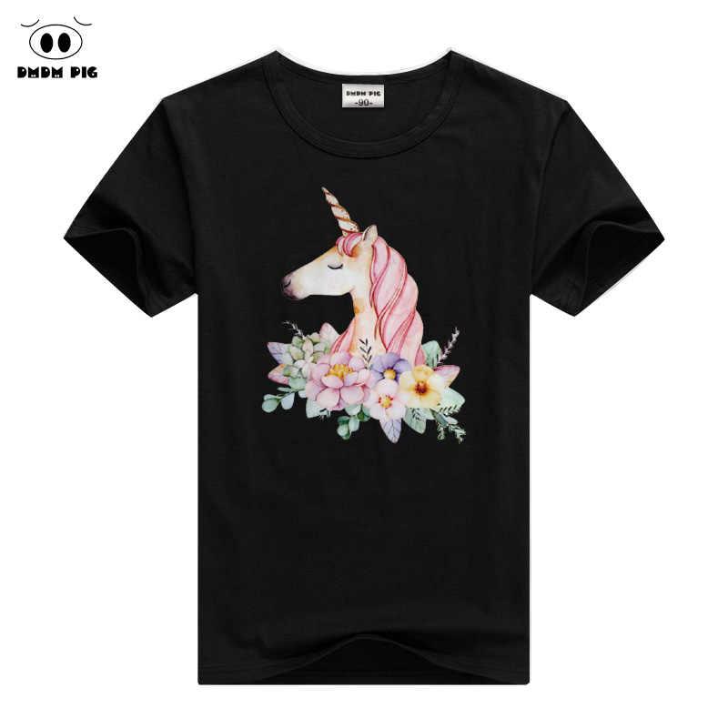 DMDM חזיר קצר שרוול חולצות פעוט בני בנות Tees בני נוער בגדי Unicorn T חולצה ילדי קיץ ילדי חולצת טי חולצות גודל 5