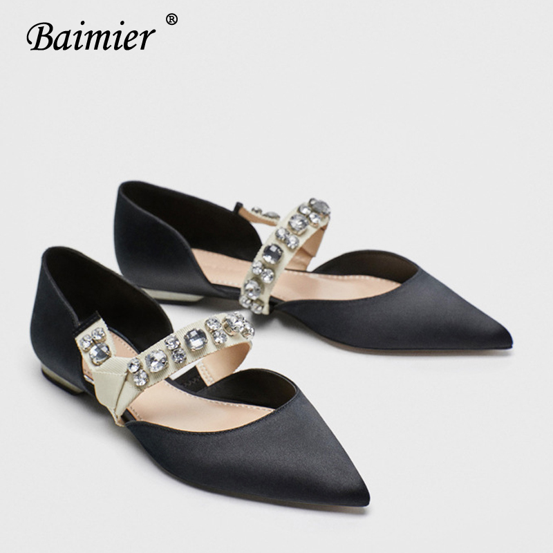 Baimier Summer Black Silk Mary Jane Shoes For Women Pointed Toe Buckle Strap Women Flats Luxury Crystal Wedding Shoes Woman