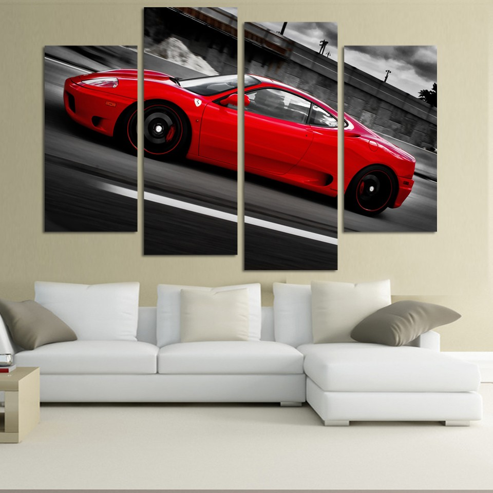 4 pcs red sports car wall art picture home decoration living room canvas print painting wall