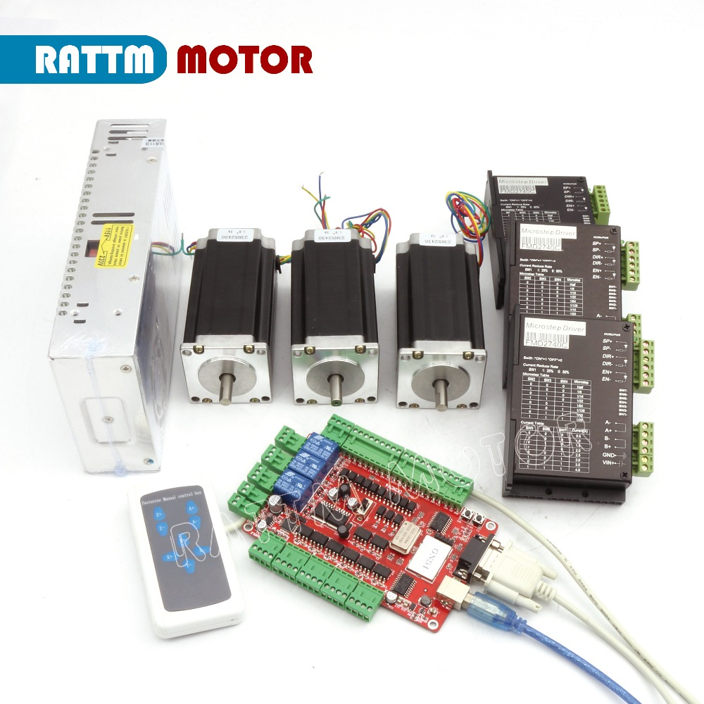 RUS/ EU Delivery! 3 Axis CNC kit Nema 23 Stepper Motor(Dual Shaft) 425oz in 112mm 3A & Driver 40VDC 4A 128 microstep
