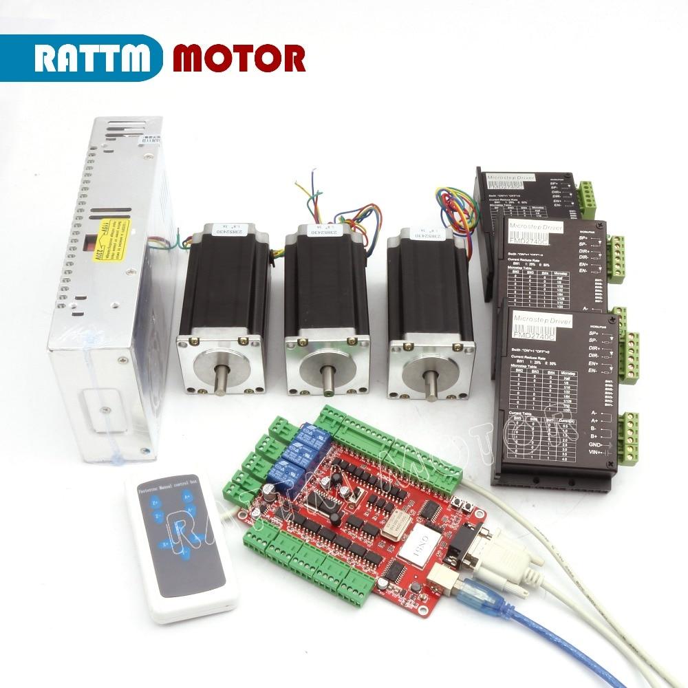 RUS/UE Entrega! 3 23 eixo CNC kit Nema Motor de Passo (Dual Eixo) 425oz-in 112 milímetros 3A & Driver 40VDC 4A 128 microstep
