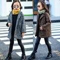 Niñas abrigo de Lana 2016 Nuevo Invierno de Los Niños muchachas de La Manera outwear Girls Capa de La Chaqueta Cazadora de Lana Cálida chaqueta de color sólido