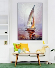 100% Hand-painted Palette Knife Oil Painting White Yacht in Fog Drift Wall Art Picture for Office Home Decor