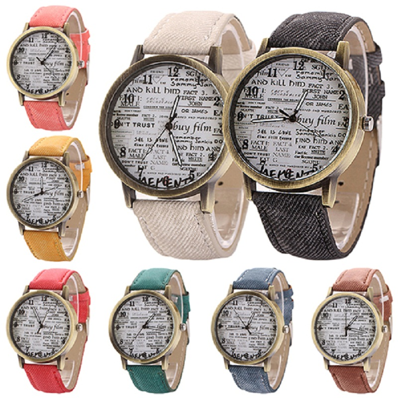 Arrival Men Women  Retro Cowboy Fabric Analog Quartz Casual Wrist Watch