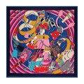 2016 womens silk scarf square 130*130cm european female spring100%pure silk scarfs letter print brand silk shawls wraps