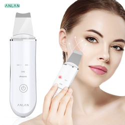 Dispositivo Ultrasónico de Limpieza de la Piel Facial, Skin Scrubber Exfoliador Limpiador de poros USB 4 Modos Máquina de Anión para Cuidado de la Piel