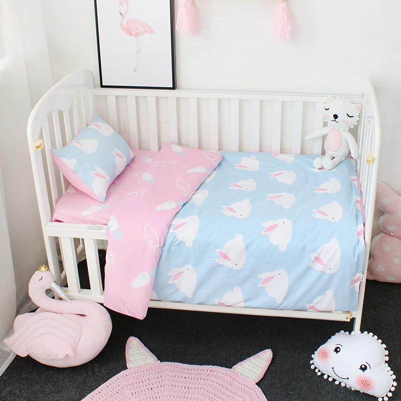 все цены на 3Pcs Baby Bedding Set Pure Cotton Cartoon Pattern Crib Bed Linen Kit Include Pillowcase Flat Sheet Duvet Cover Without Filler