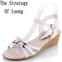 Women Little Wedge Open The Toe Buckle Blue Sandals Lady Fashion Sweet Style Peep Toe Low