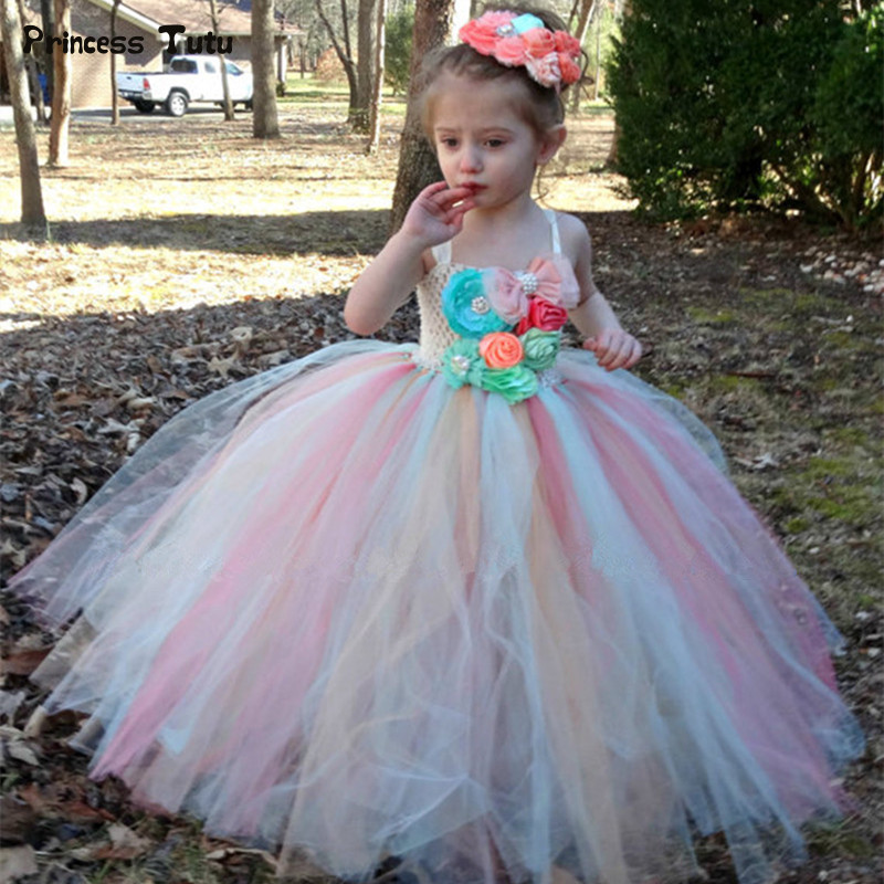 Flower Girl Tutu Dress Children Birthday Party Wedding Princess Dress Kids Ankle Length Rainbow Boutique Girls Ball Gown Dresses teenage girl party dress children 2016 summer flower lace princess dress junior girls celebration prom gown dresses kids clothes
