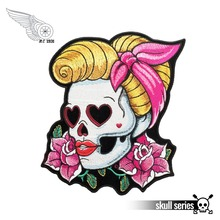 Loving Eyes Pin Up Girl & Pink Rose Skull Patch, Ladies Back Embroidered Iron On Or Sew Patches 3.5*4 INCH Free Shipping