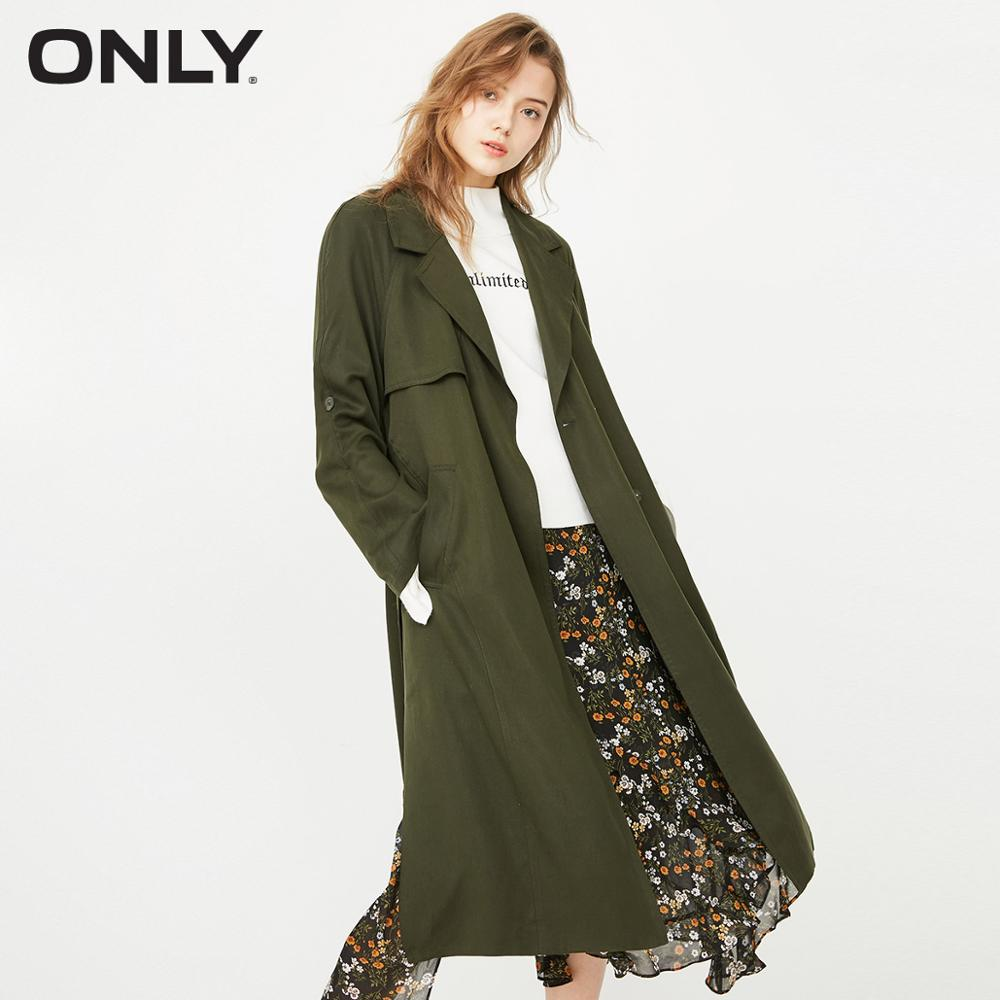 ONLY women's autumn new tie waist long   trench   coat| 118136511