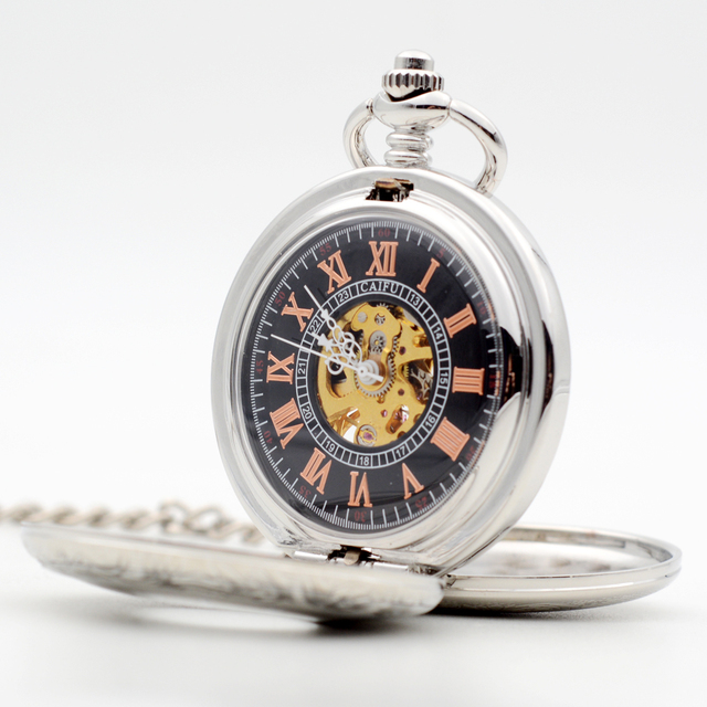 Fahsion Pocket Watch Silver Black Dial Mechanical Hand Wind Skeleton Open Double