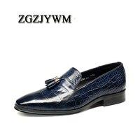 ZGZJYWM New Fashion Comfortable Black/Blue Genuine Leather Elastic Band Pointed Toe Flat Man Casual Classic Gentleman Shoes