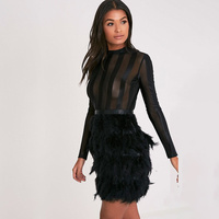 Wholesale 2018 New Dress Black And White Feather Long Sleeves Net Yarn Perspective Sexy Cocktail Party