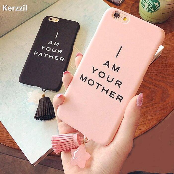 Модные милые любители мать отец кисточкой Жесткий Чехол для iPhone 7 6 6 S Plus скраб телефон Обложка для iPhone 6 7 6 S сзади Капа