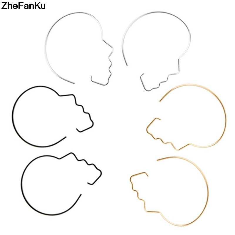 Простой дизайн панк абстрактный контур лица серьги европейский преувеличенный золотой серебряный цвет серьги Прямая доставка