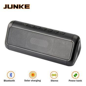 JUNKE HIFI Solar Bluetooth Speaker Portable Wireless Super Bass Dual Speakers Soundbar With Mic TF FM Radio USB Sound Box Column