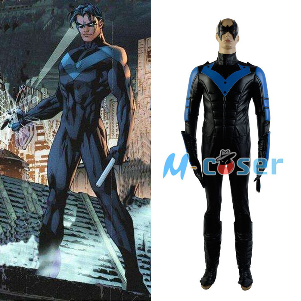 Batman: Arkham City Nightwing Richard John Dick Grayson Cosplay Costume For Men Full set