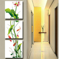 Home Canvas Art 3 Panel Wall Pictures Hand Painted Abstract Carps Lotus Flower Oil Painting Handmade