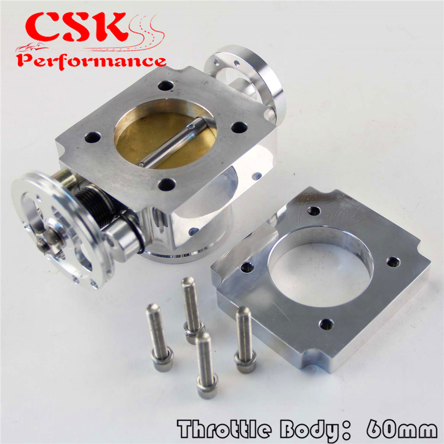60 MM UNIERSAL 60MM VQ35TPS ALUMINUM THROTTLE BODY INTAKE MANIFOLD BILLET SILVER