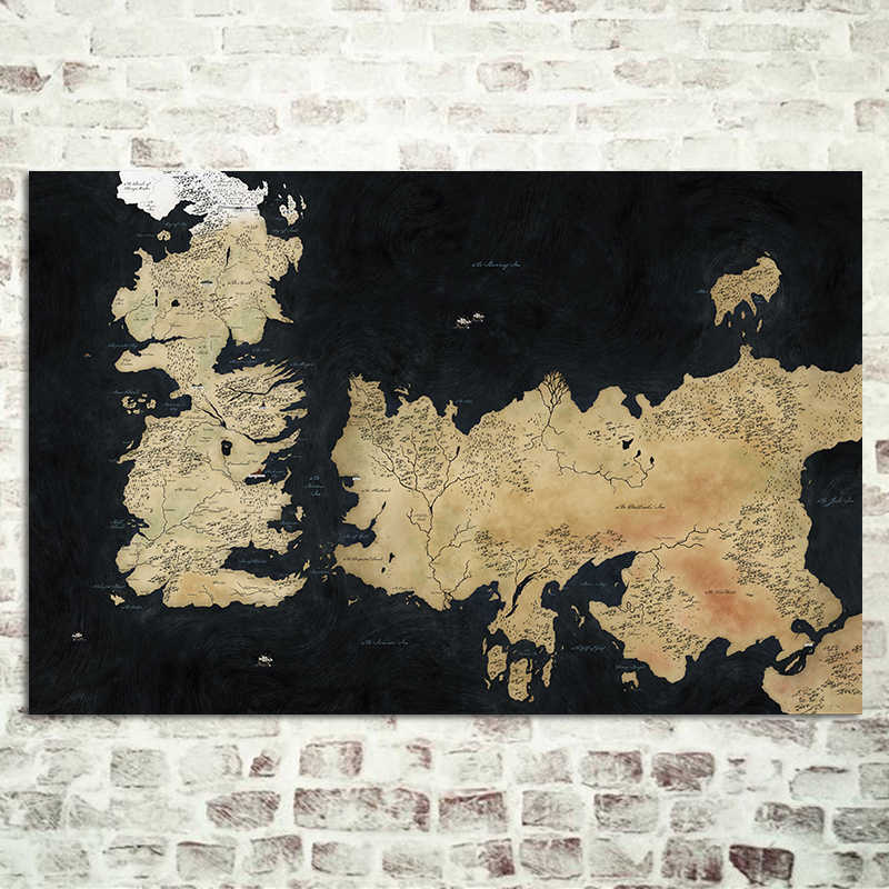 Game Of Thrones Known World Map Silk Poster Ancient Westeros Essos Black Maps Plate Wall Picture Large Size