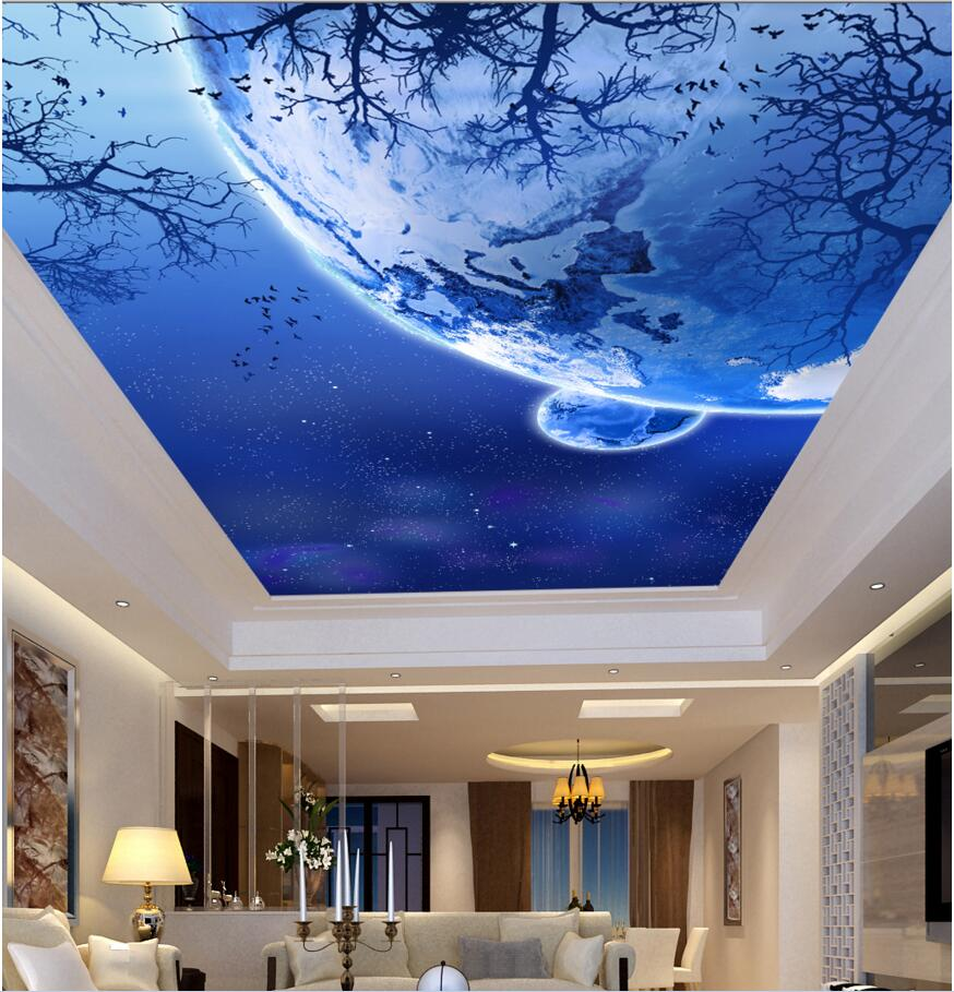 high quality woods wall mural promotion shop for high quality 3d ceiling murals wall paper picture star birds in trees painting decor photo 3d wall murals wallpaper for living room walls 3 d